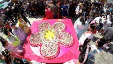 花朝节巨型花糕为百花庆生 数百民众分食